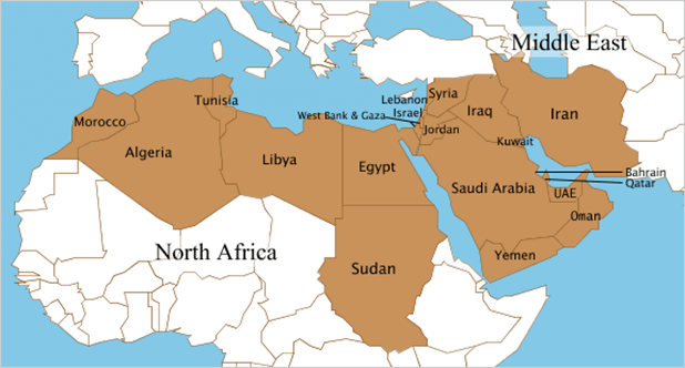 Mena countires map - pic